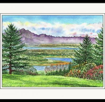 Watercolor Landscape - State Of Washington Columbia River Gorge