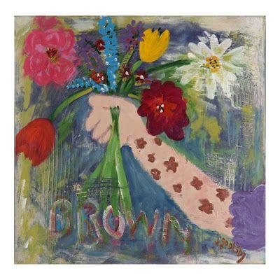 "Narrative Art Painting,Flowers,Arm,Bouquet, Still Life ""Brown Flowers On GiGi's Arm"" Narrative Art by Santa Fe Artist Judi Goolsby"