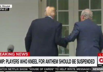 Internet lights up as Trump locks arms with Mitch McConnell after their impromptu press conference