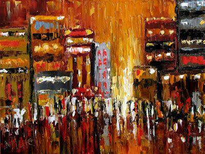 "Abstract Cityscape Art Street Scene pallet knife painting original painting ""Glow"" by Debra Hurd painting by Debra Hurd"