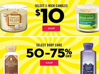 Bath & Body Works' Semi-Annual Sale 2018 Includes $10 Candles, 75 Percent Off Products, & More