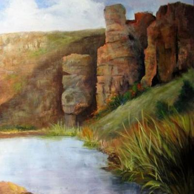 Big Bend Mountains,oils canvas,Barbara Haviland,Texas Landscape Artist
