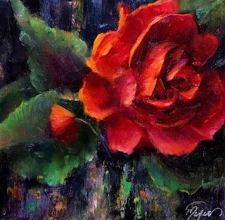 Red Double Begonia by artist Pat Meyer