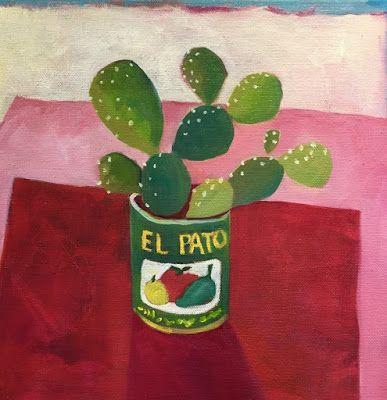 "Contemporary Abstract Still Life Art,Bold Expressive Painting ""El Pato"" by Santa Fe Artist Annie O'Brien Gonzales"
