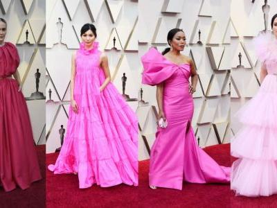 The Oscars Red Carpet Was Very Pink