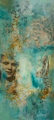 """Abstract Collage, Faces, Mixed Media Abstract Painting, Contemporary Art, Expressionism, """"Your Secrets Are Safe With Me"""" by Contemporary Artist Tracy Lupanow"""