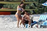 Love Is . . . Jennifer Lopez Putting Sunscreen on Fiancé Alex Rodriguez While He Smokes a Cigar