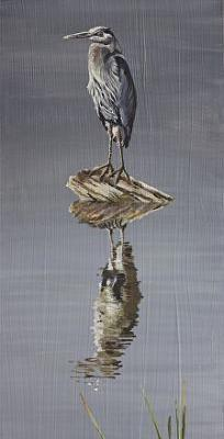 "Original Wildlife Landscape Painting With Birds ""GRAY SKIES; BLUE HERON"" by Nancee Jean Busse, Painter of the American West"