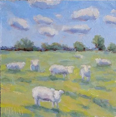Sheep Lamb Oil Painting Original Art Heidi Malott