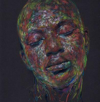 Swirling Patches of Multi-Hued Colored Pencil Compose Portraits by Linsey Levendall
