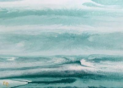 """Ocean, Abstract Seascape Painting,Coastal Art , Expressionism """"BEACH BASH SALE 21"""" by International Contemporary Seascape Artist Kimberly Conrad"""