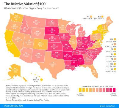 This map shows what $100 is really worth in your state