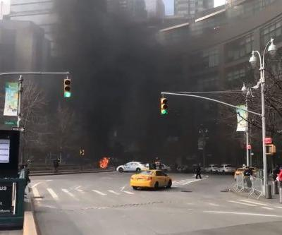 NYPD truck bursts into flames in Columbus Circle