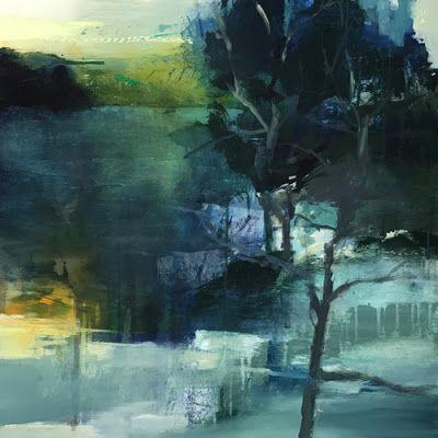 """Abstract Mixed Media Landscape Painting """"Moonlight Yearning"""" by Intuitive Artist Joan Fullerton"""