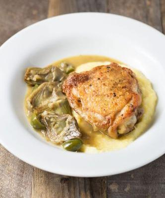 Braised Chicken Thighs and Artichokes with Polenta