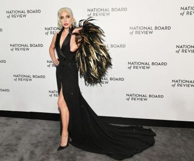 Lady Gaga Continues to Lean Into Superstar Style With a Crystal Tuxedo Dress and Feathered Cape