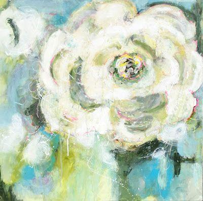 "Contemporary Abstract Expressionist Floral Painting ""RIFF"" by Abstract Artist Pamela Fowler Lordi"
