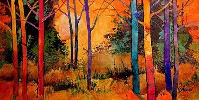 "Mixed Media Tree Art Landscape Painting, ""Forest Wonders 3"" by Carol Nelson Fine Art"