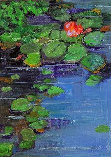 "Colorful Landscape Pond Flower Oil Painting ""The Pond in Spring"" by Colorado Artist Susan Fowler"