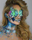 This Woman's Holographic Skull Makeup Will Give You Beautiful Nightmares