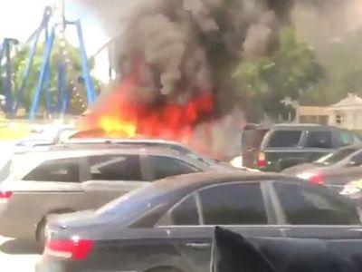 Multiple cars engulfed in fire in Carowinds parking lot