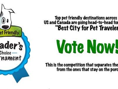 Vote Now! Support Your Favorite Pet Friendly Travel Destinations in the 2018 Best City for Pet Travelers Tournament