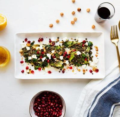 Pomegranate, Goat Cheese and Warm Lentil Salad