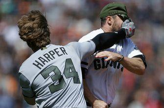 Bryce Harper suspended four games, Hunter Strickland suspended six games for brawl