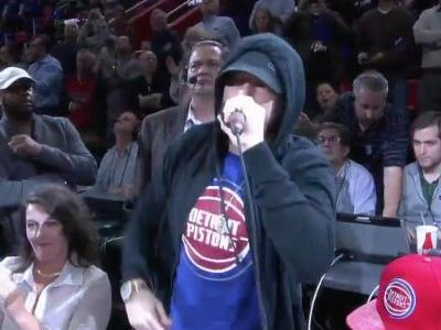 Watch Eminem Introduce The Detroit Pistons On Opening Night At Their New Arena