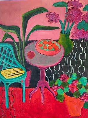 "Contemporary Expressionist Still Life Art, Bold Expressive Painting ""Henri's Balcony"" by Santa Fe Artist Annie O'Brien Gonzales"