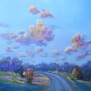 Cotton Candy Clouds, New Contemporary Landscape Painting by Sheri Jones