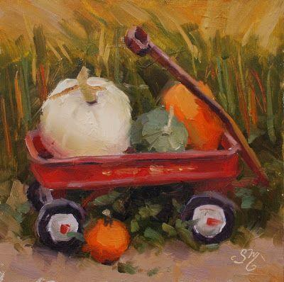 No. 815 Baily's Little Red Wagon with Pumpkins - Plein Air