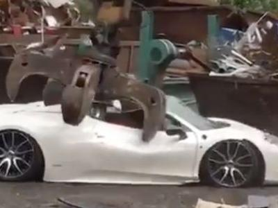 Try Not To Cry As A Confiscated Ferrari 458 Is Crushed