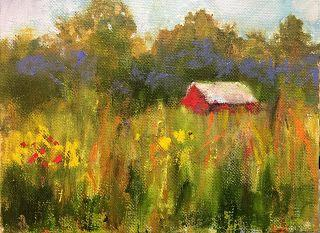 Little Cabin in the Woods 2, Impressionist Miniature Oil Landscape by Amy Whitehouse