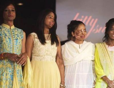 India acid attack victims defiant on the haute couture catwalk