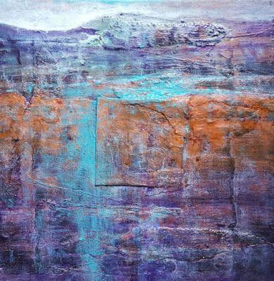 "Mixed Media, Contemporary Abstract Landscape Art ""Small Abstract Landscape"" by Contemporary Artist Gerri Calpin"