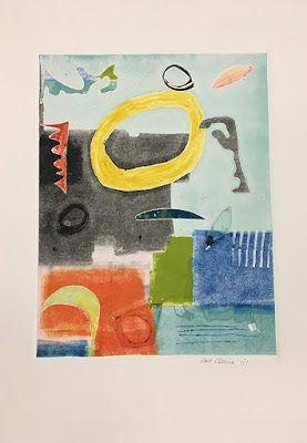 """Contemporary Art, Monoprint, Abstract,Expressionism, Studio 9 Fine Art """"Equipoise II"""" by International Abstract Artist Amanda Saint Claire"""