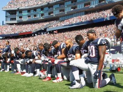 NFL players and teams around the league defiantly reacted to Trump's comments by protesting during the national anthem