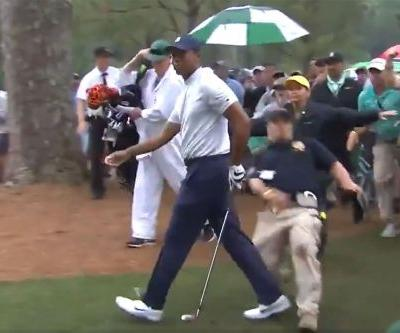 Tiger Woods' day at Masters put in peril by slipping security guard