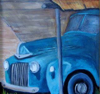 Blue Truck Miniature oils painting,Barbara Haviland