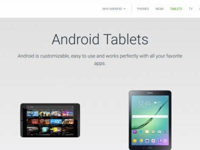 Tablet section was removed from the Android website by mistake