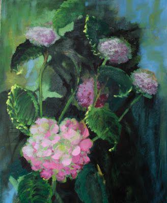 """Still Life Floral Painting, Fine Art Oil Painting """"Hydrangeas"""" by Colorado Artist Susan Fowler"""