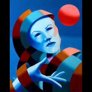 Mark Webster - Abstract Blue Mask Oil Painting