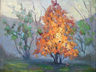 Tree on Fire, Autumn Painting, Fall Foliage, Daily Painting, Small Oil Painting, 8x10x1.5