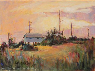 "Colorful Landscape Painting, Countryside ""Vacation"" by Texas Artist Holly Hunter Berry"
