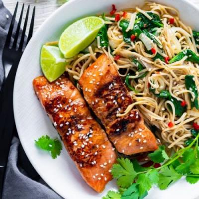 Teriyaki Salmon Noodle Bowl