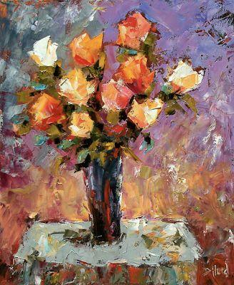 "Impressionist Still life Floral Painting, Palette Knife Oil Flower Painting, ""Roses"" By Debra Hurd"
