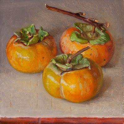 Persimmons original oil painting still life small work of art a painting a day