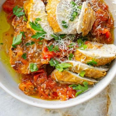 Roast Chicken on Parmesan Toast