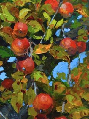 """Field Apples"" plein air, apple painting by Robin Weiss"
